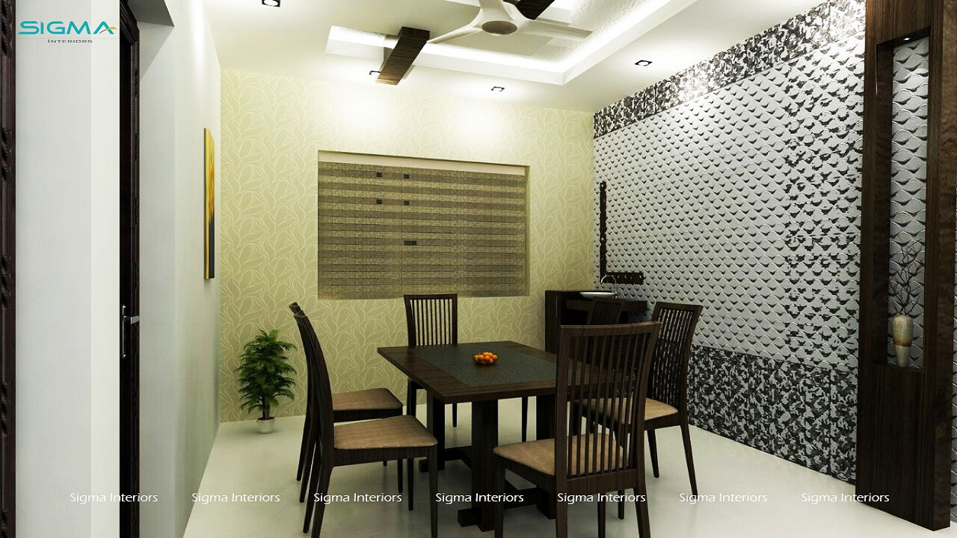 Modern, dining interior with classic ceiling design