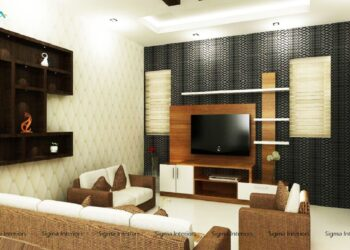 Eccentric style living room with couch, tv unit and shelving unit