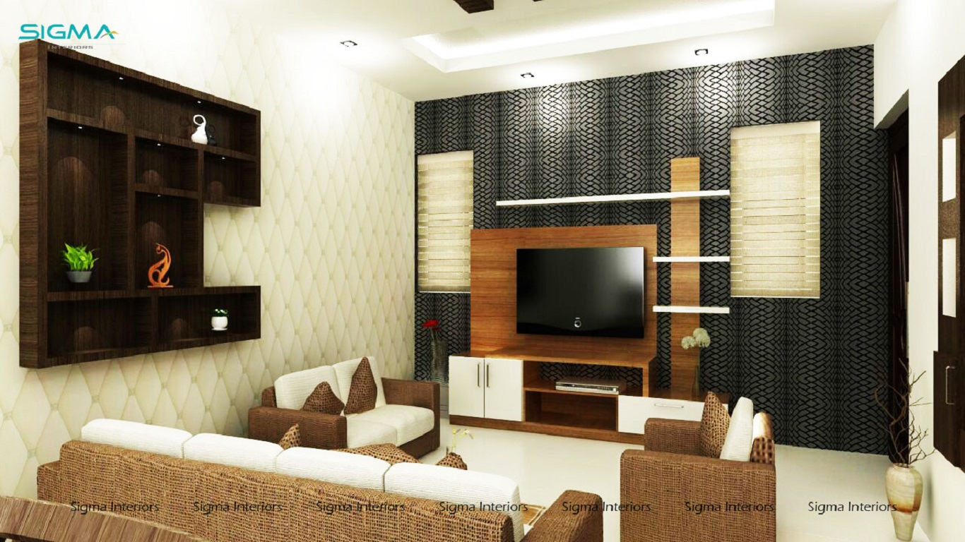 Contemporary style living room with modern tv unit design
