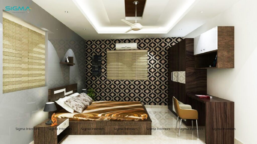 Modern bedroom with furniture and wardrobe