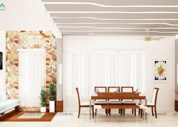 Panoramic view from kitchenette to open stunning dining room, kitchen counter area and small living room in modern design