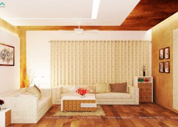 Minimalist living room interior with its gorgeous floral beige color theme and contemporary layout.