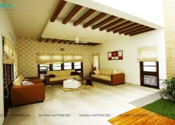 Spacious modern living room with contemporary sofa set design and interior gardening