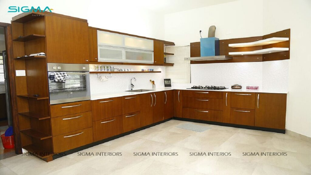 Contemporary style kitchen with glossy white countertop above walnut bronze cabinets