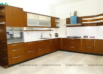 Simple and realistic kitchen concepts with white countertops above walnut bronze cabinets increases the visual charisma of the kitchen