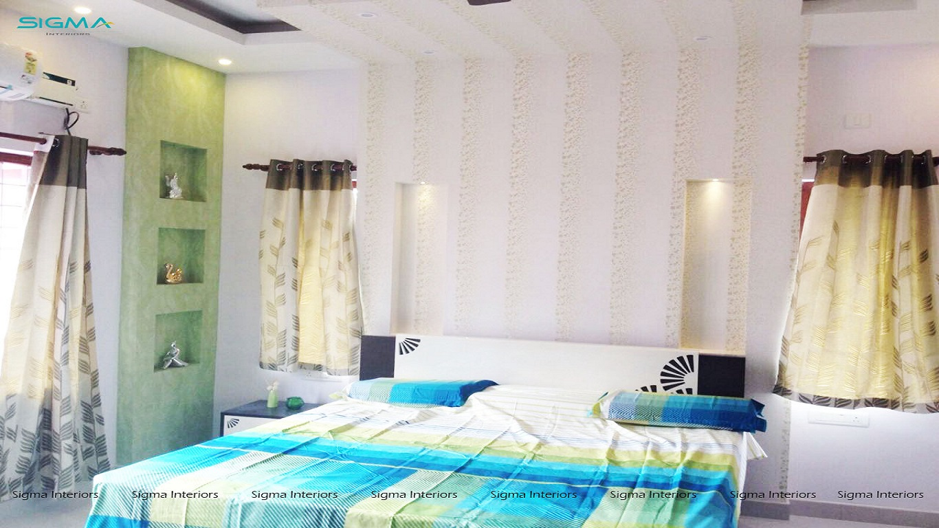 Contemporary style bedroom with queen size bed and flanked open ledges for decorative items