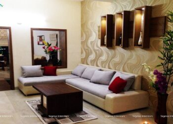 Neutral color living room, L-shaped cushion with beautiful mirror view