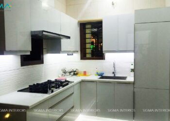 Classic and elegant kitchen with white countertop and grey cabinet modern design