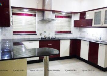 Purple modern modular kitchen