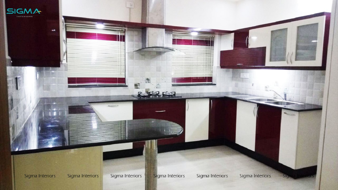 Purple and white designed modular kitchen