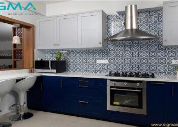 Modern kitchen, white and blue minimalistic interior design with counter area