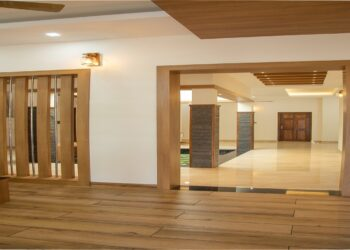 Living room with wooden floor covering